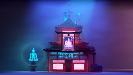 Cyberpunk Japanese Temple