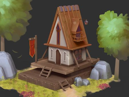 Stylized House On A Hill Concept Art