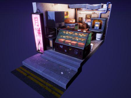 Cyberpunk Mooncake Hawker Stall Diorama