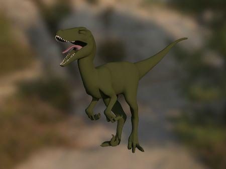 Rigging a cartoon velociraptor