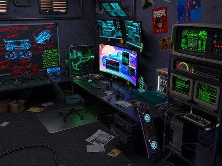 Cyberpunk basement Workstation