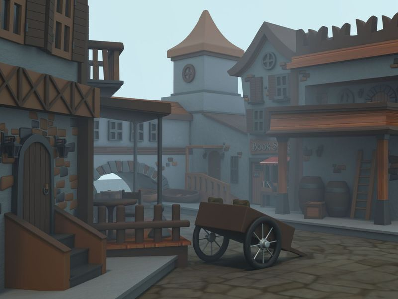 Medieval Old Town (Cartoon Style)