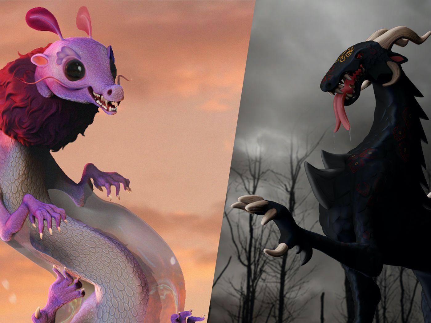 Creature Design- Dusk and Heraldic Dragon Concepts