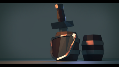 Sword, barrels and shield.