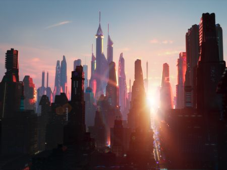 Sunrise Over Sci-Fi City