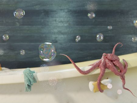 Octopus and Bubbles || A work done in Blender