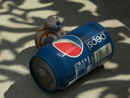 BB8 Pushing a Pepsi Can