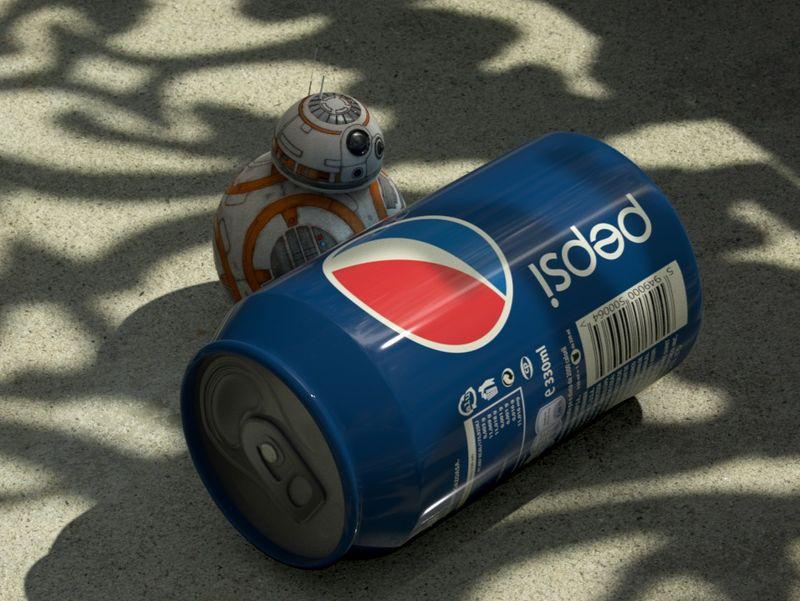 BB8 Pushing a Pepsi Can