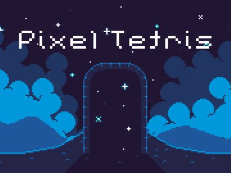 Tetris animation with a pixelart background