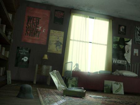 A rainy melancholic day in Sunday's room  - CG Still Image