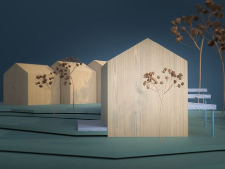 Exterior architecture model and interior design proposal.