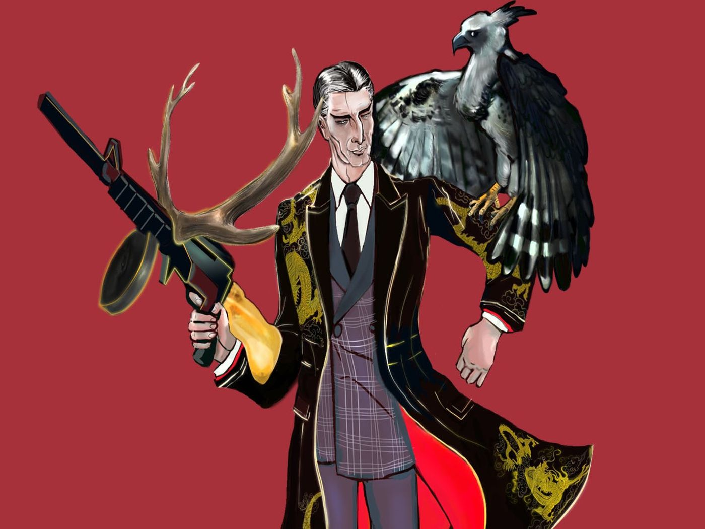 Dandy gangster in vintage baroque coat with antler thompson gun