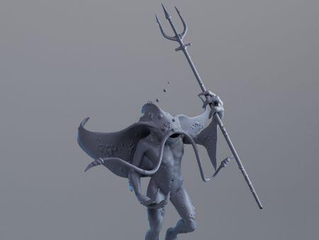 Sculpt - Metamorph character - Manta ray and human
