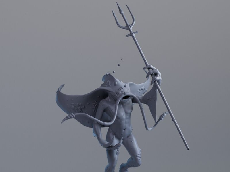 Sculpt - Metamorph character - Manta ray and human
