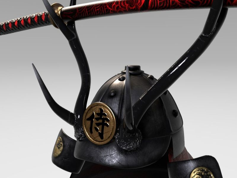 Samurai Helmet and Katana -3D