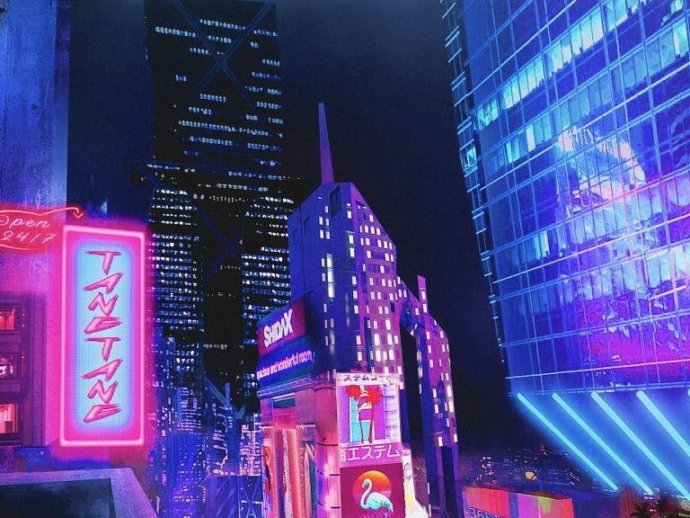 Neon City Landscape