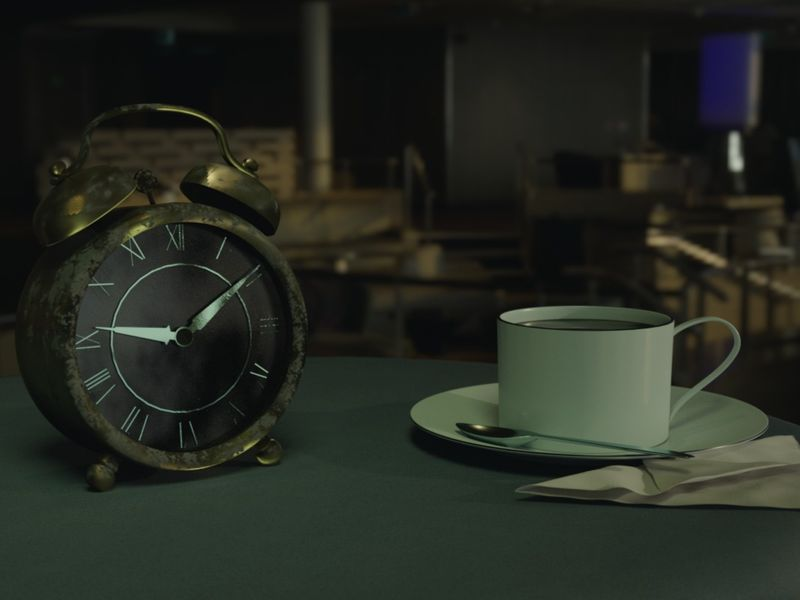 Old clock and coffee