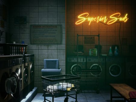 Laundromat at night