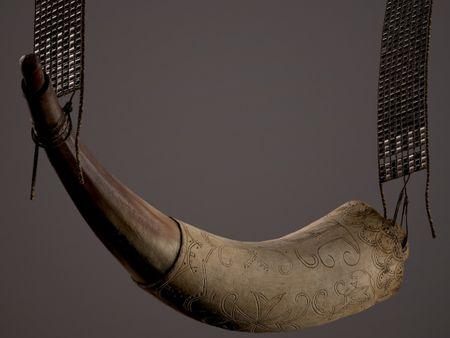 Gunpowder Horn & Beaded Shoulder Strap