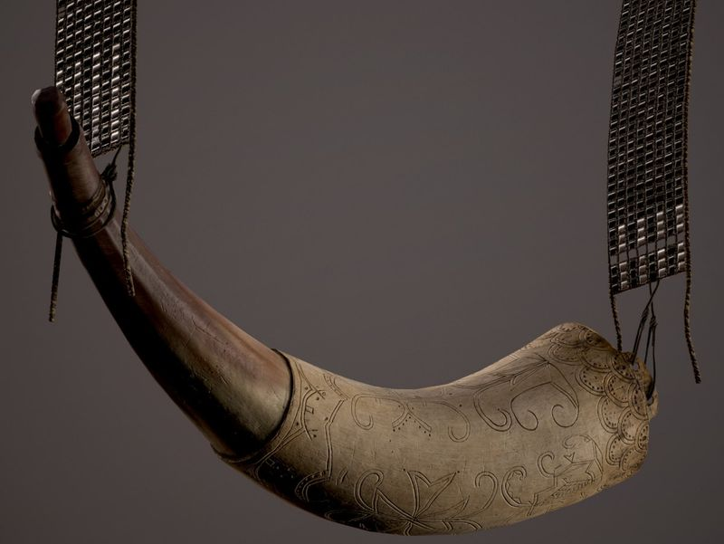 Gunpowder Horn & Beaded Shoulder Strap