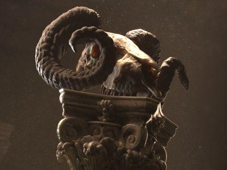 Classical Ram skull on a Corinthian column