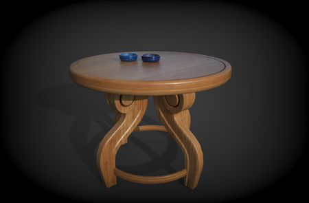 Wooden Table with Ceramic Bowls