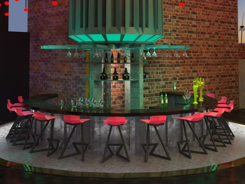 Architectural Visualization of Bar and Lounge