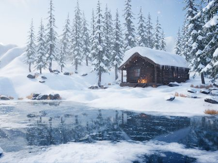 Winter Cabin by the Lake