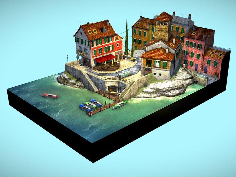 Cinque Terre - 3D Low Poly assignment