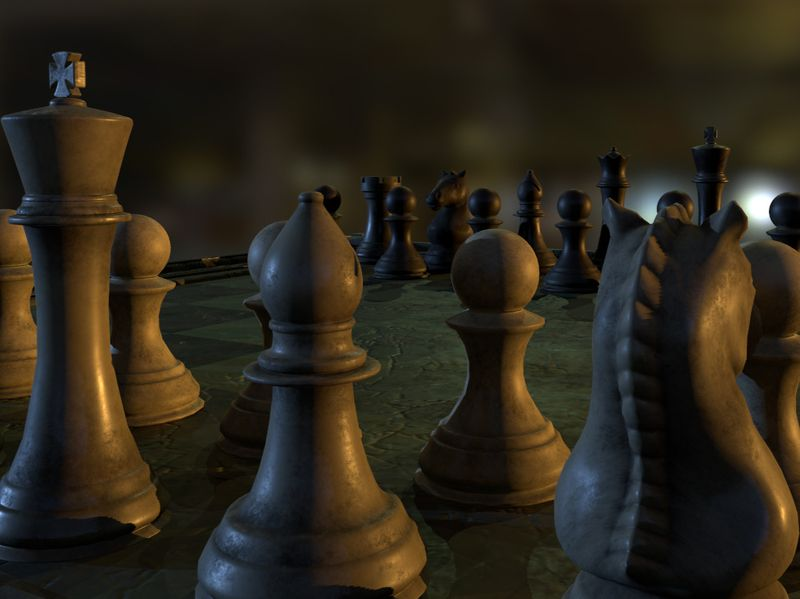 Dusty Chess Board & Pieces
