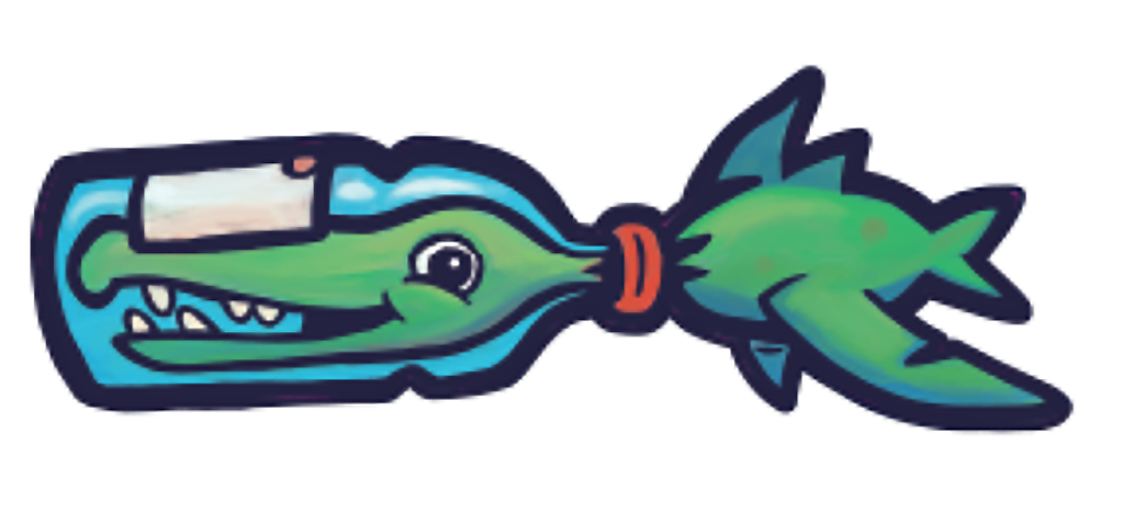 Flotsam Green Bottle Fish Landervanregenmortel