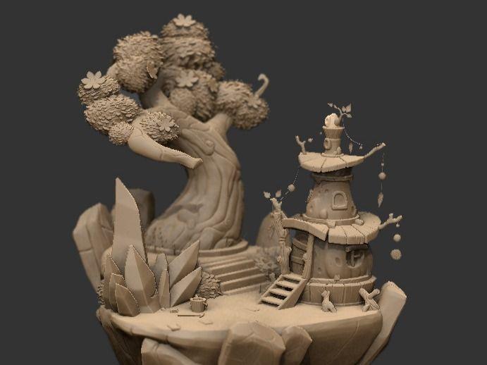 A fairy miner's house    Diorama sculpt