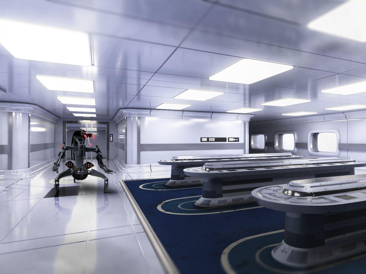 Star Wars Droideka in a Kamino Environment