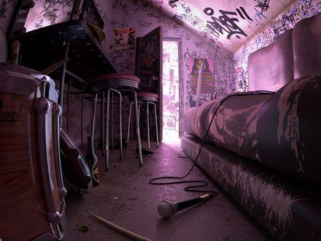 Punk band dressing room