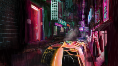Asian cyberpunk city