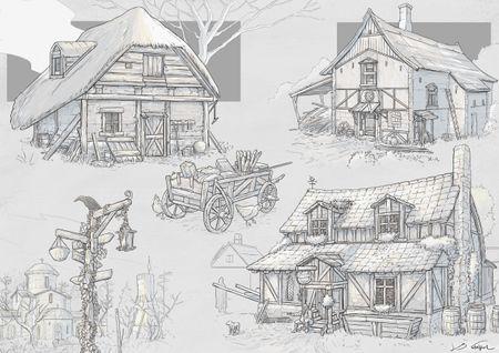Medieval building sketches