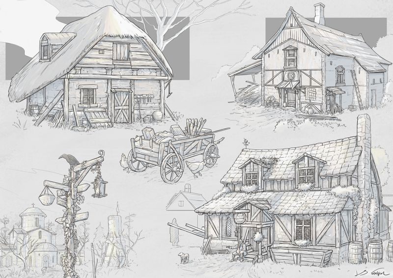 Medieval building sketches