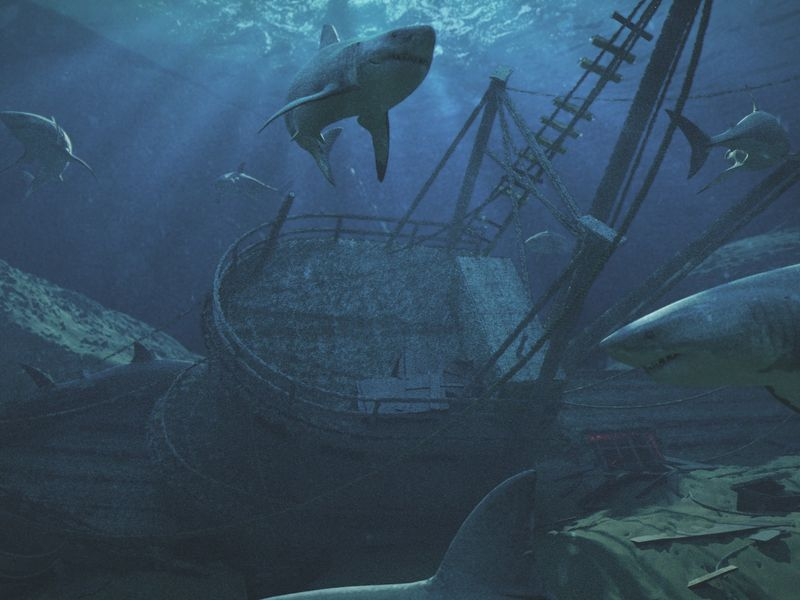 Underwater Ship with Sharks