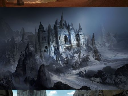 Matte Painting - Hidden Fortress, Abandoned Snow Castle, Post-Apocalyptic City