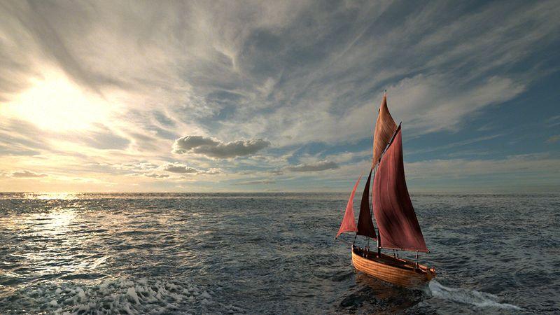 Boat sailing towards sunset
