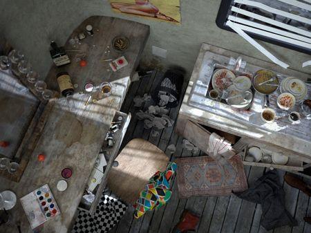 Depressed clown's dressing room.