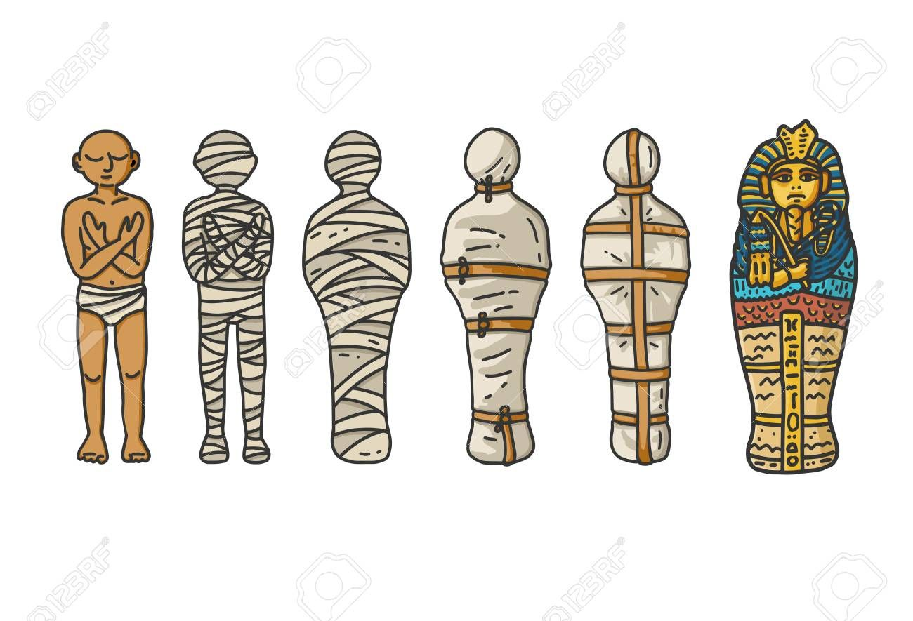 1%20mummy Creation A Six Step Process Showing How The Ancient Egyptians Wrapping The Mummies During Emba Luise