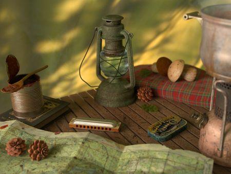 Still life : inside a camper's tent