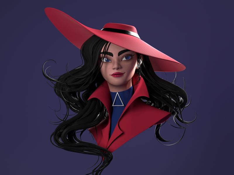 Carmen Sandiego- 3D Artwork based on a concept by Mioree .