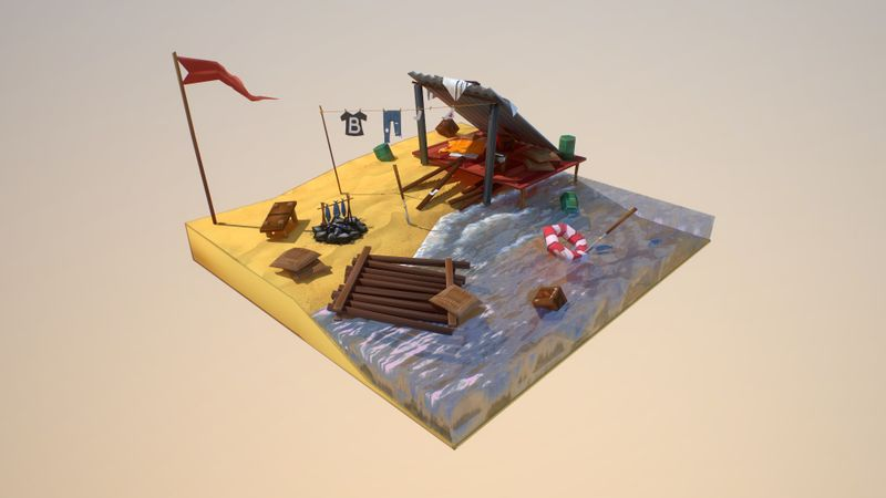 Shipwreck Camp - Low Poly
