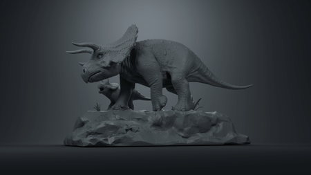 Mother triceratops with her baby