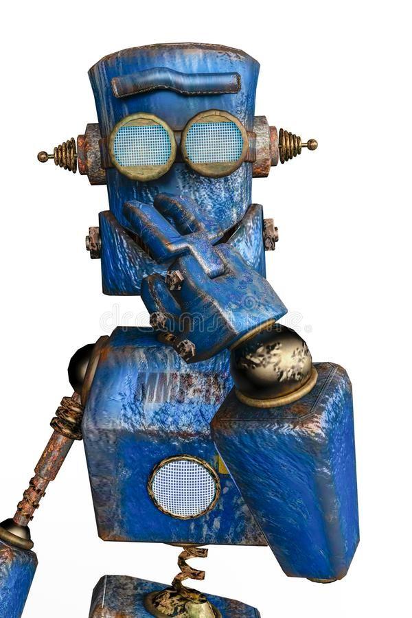 Rouill%c3%a9 Le Robot Bleu %c3%a0 Un Arri%c3%a8re Plan Blanc 124804568 Maskio