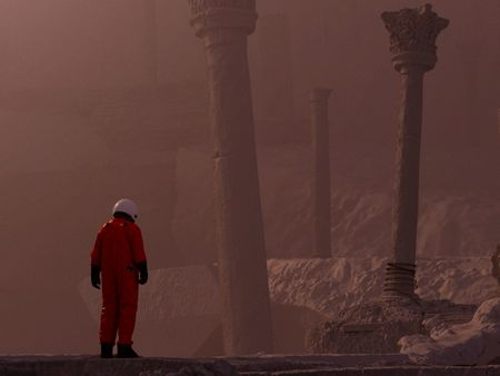 Astronaut visiting unknown lands
