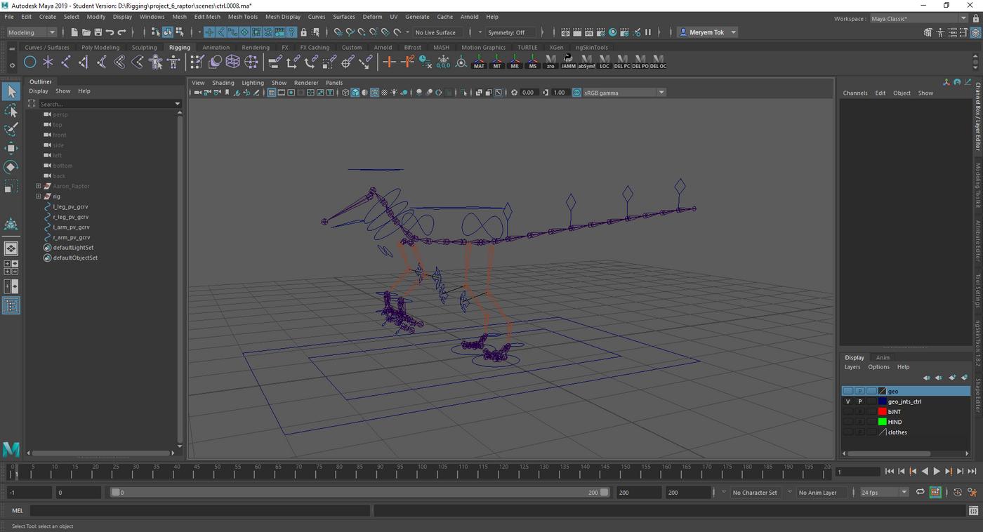 Raptor Skeleton And Ctrls Merytok