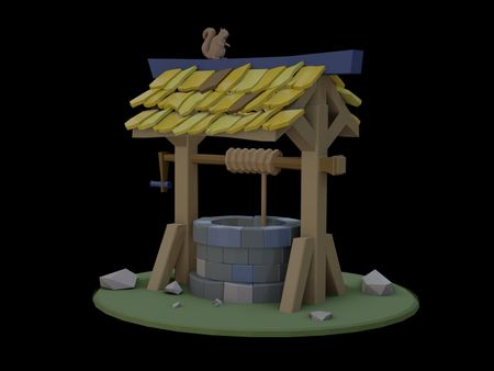 Low poly squirrel and well